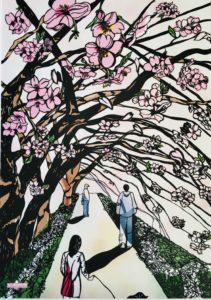 切り絵 思い出・桜