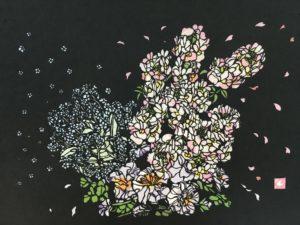 切り絵 ふんわり春のお花