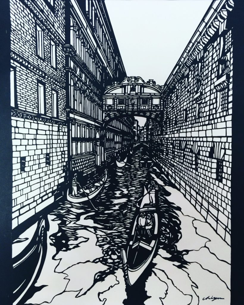 切り絵ヴェネツィアため息橋