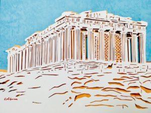 切り絵ギリシャ・アテネ